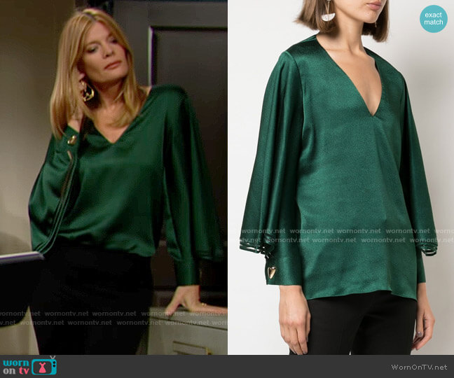 Sachin + Babi Adelaide Blouse worn by Phyllis Summers (Michelle Stafford) on The Young & the Restless