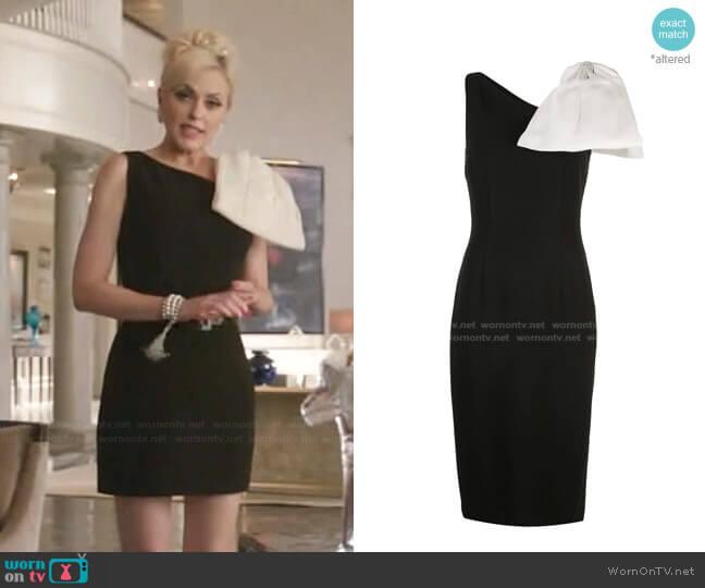 One Shoulder Bow Dress by Sachin + Babi worn by Alexis Carrington (Elaine Hendrix) on Dynasty