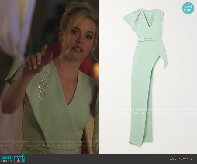 Asymmetric Draped Crystal Embellished Blouse by Safiyaa worn by Kelly Anne Van Awken (Molly Burnett) on Queen of the South