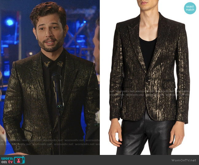 Metallic-Stripe Evening Blazer by Saint Laurent  worn by Sam Flores (Rafael de la Fuente) on Dynasty