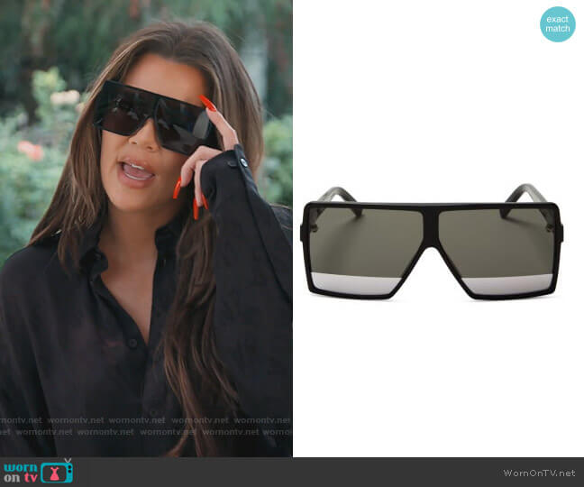 SL 183 Betty Small Shield Sunglasses by Saint Laurent worn by Khloe Kardashian  on Keeping Up with the Kardashians