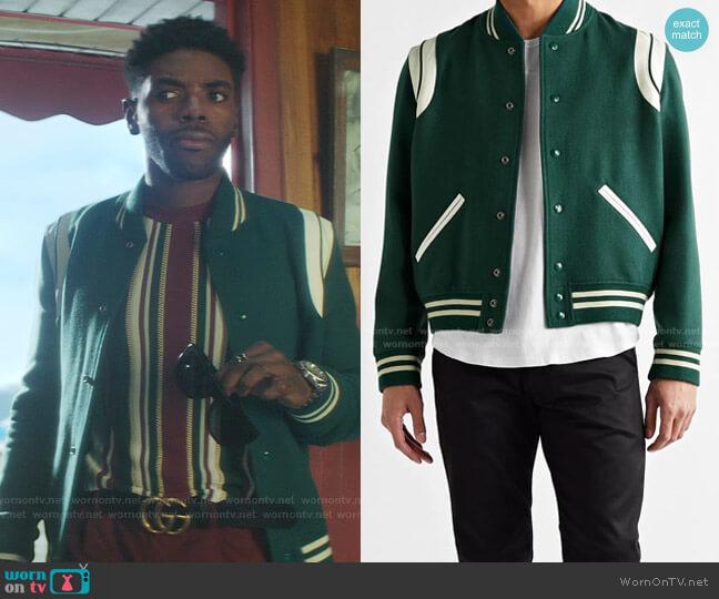 Teddy Bomber Jacket by Saint Laurent worn by Tian Richards on Nancy Drew