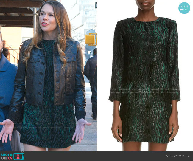 Tinsel Tiger Stripe Minidress by Saint Laurent worn by Liza Miller (Sutton Foster) on Younger