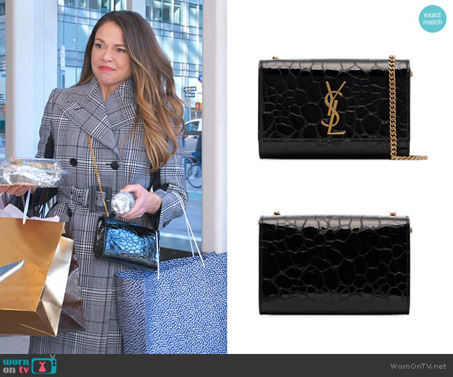 Kate Crocodile Embossed Leather Shoulder Bag by Saint Laurent worn by Liza Miller (Sutton Foster) on Younger