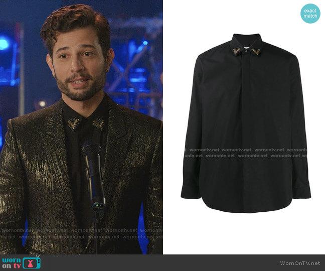 Embellished Collar Shirt by Saint Laurent worn by Sam Flores (Rafael de la Fuente) on Dynasty