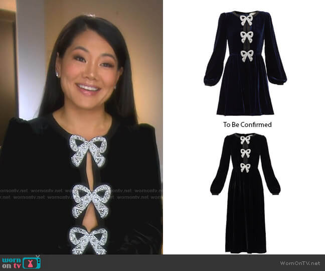 Camille crystal-Bow Dress by Saloni worn by Crystal Kung Minkoff  on The Real Housewives of Beverly Hills