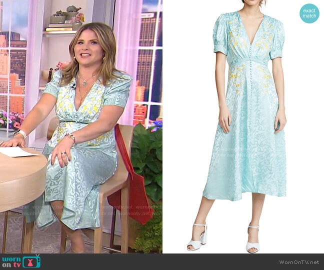 Lea Dress in Clearwater Embroidery by Saloni worn by Jenna Bush Hager  on Today