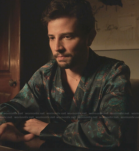 Sam's fish print robe on Dynasty