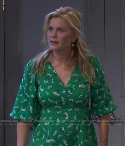 Sami's green floral v-neck dress on Days of our Lives
