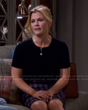 Sami's navy top and purple tweed skirt on Days of our Lives