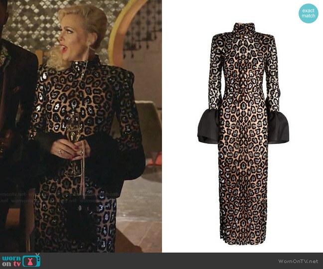 Ruffled Leopard Midi Dress by Sandra Mansour worn by Alexis Carrington (Elaine Hendrix) on Dynasty
