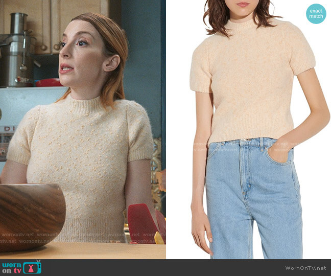 Valery Short Sleeved Marl Knit Sweater by Sandro worn by Lauren (Molly Bernard) on Younger