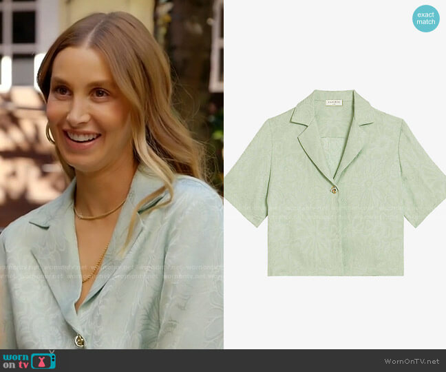 Sandro Ameline cropped jacquard woven shirt worn by Whitney Port  on The Hills New Beginnings
