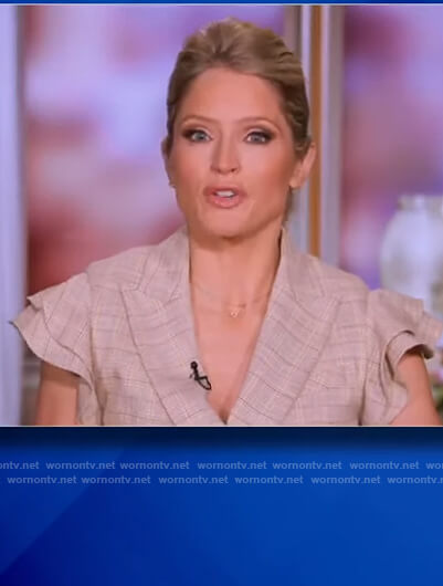 Sara's beige plaid ruffle vest on The View