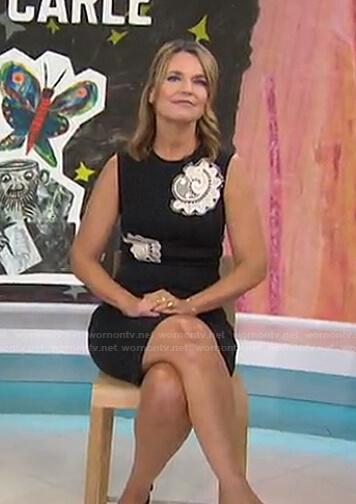 Savannah's black applique sleeveless dress on Today