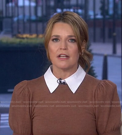 Savannah's brown collared sweater on Today