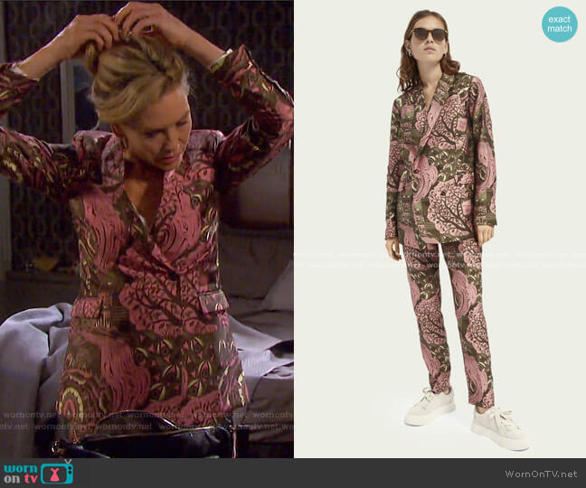 Double-Breasted Pattern Blazer and Lowry Trousers by Scotch & Soda worn by Kristen DiMera (Stacy Haiduk) on Days of our Lives