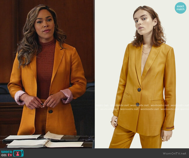 Twill blazer and pants by Scotch and Soda worn by Emily Lopez (Jessica Camacho) on All Rise