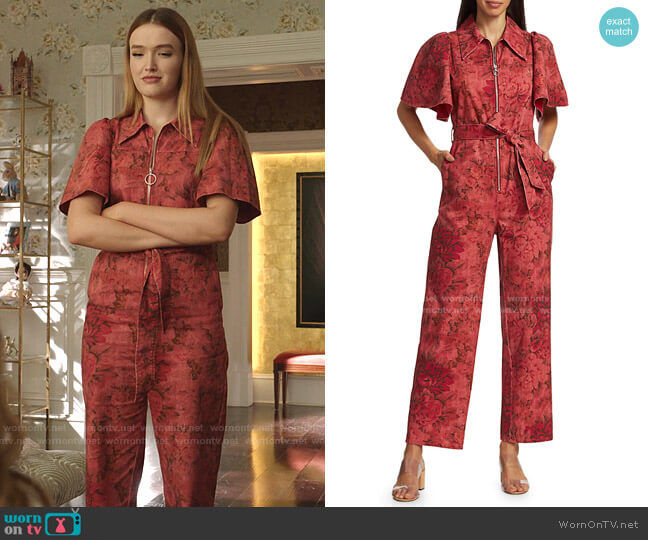 Mimi Floral Denim Wide-Leg Jumpsuit by Sea worn by Kirby Anders (Maddison Brown) on Dynasty