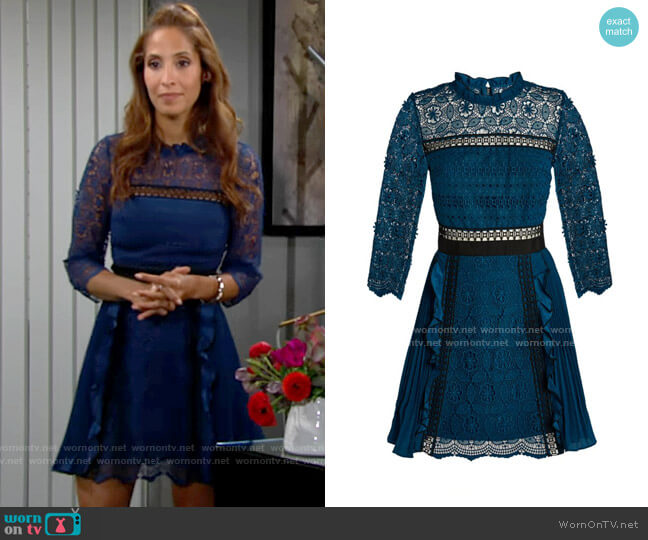 Self Portrait Guipure Lace Pleated Mini Dress worn by Lily Winters (Christel Khalil) on The Young & the Restless