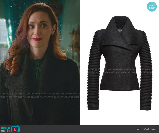 Ribbed Sleeve Moto Jacket by Sentaler worn by Abigail Pershing (Sarah Power) on Good Witch