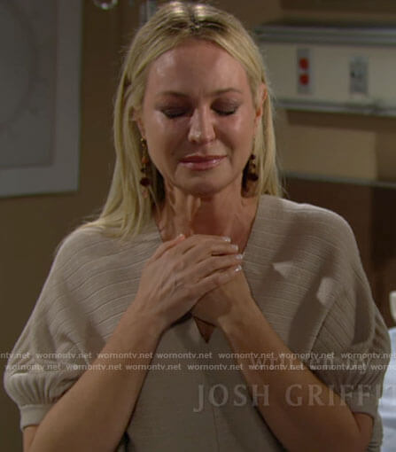Sharon's beige pleated v-neck sweater on The Young and the Restless