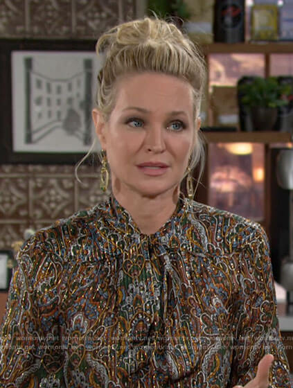 Sharon's metallic paisley print bouse on The Young and the Restless