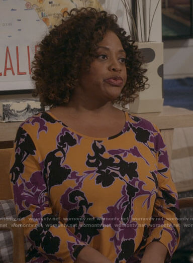 Sharon's orange and purple printed top on Call Your Mother