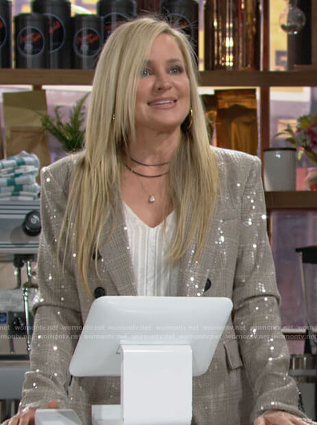 Sharon's sequin blazer on The Young and the Restless