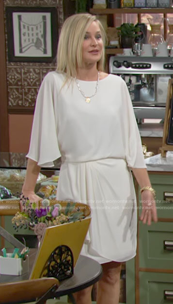 Sharon's white draped dress on The Young and the Restless