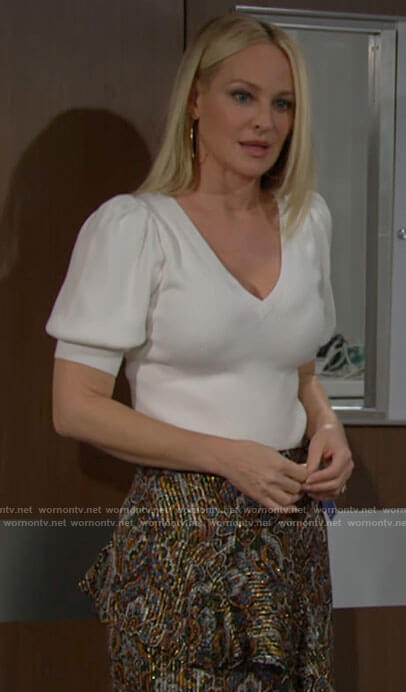 Sharon's white puff sleeve knit top and metallic paisley skirt on The Young and the Restless