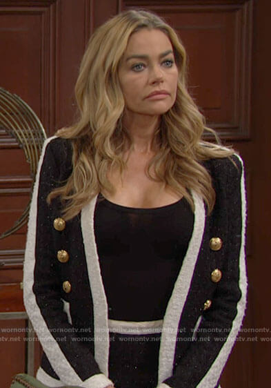 Shauna's black and white tweed jacket on The Bold and the Beautiful