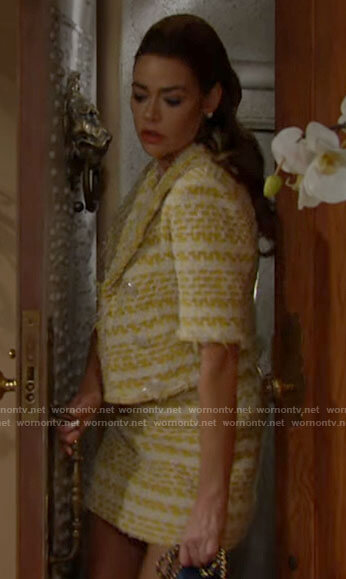 Shauna's yellow tweed jacket and skirt on The Bold and the Beautiful