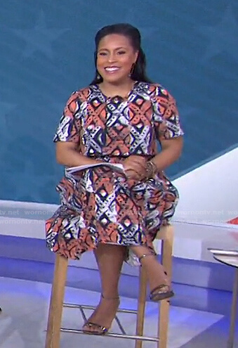 Sheinelle's orange printed colorblock dress on Today
