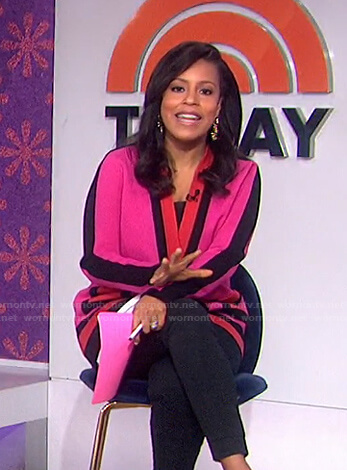 Sheinelle's pink colorblock cardigan on Today