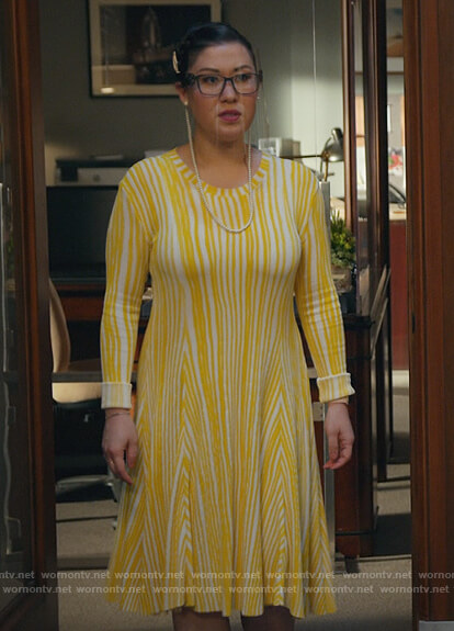Sherri's yellow striped ribbed dress on All Rise