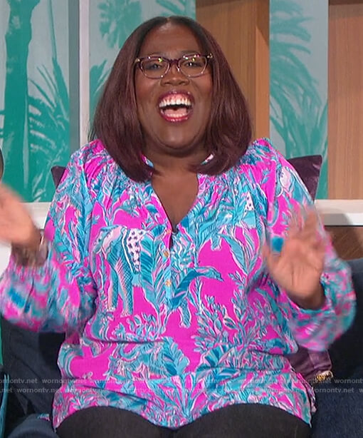 Sheryl's pink floral print blouse on The Talk