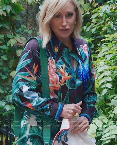 Sonja's tropical print blouse on The Real Housewives of New York City