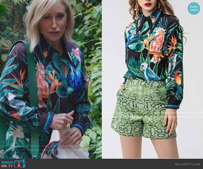 Forest Print Two Piece Set by Sonja worn by Sonja Morgan  on The Real Housewives of New York City