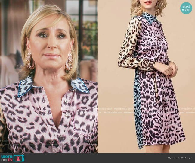 Pastel Leopard Mini Dress by Sonja Morgan worn by Sonja Morgan  on The Real Housewives of New York City