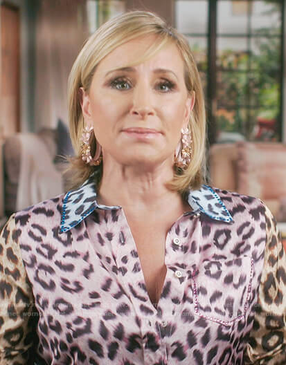 Sonja's leopard confessional dress on The Real Housewives of New York City