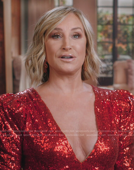 Sonja's red sequined dress on The Real Housewives of New York City