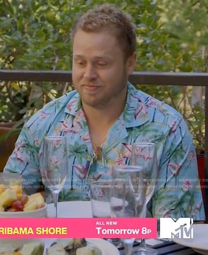 Spencer's flamingo print shirt on The Hills New Beginnings