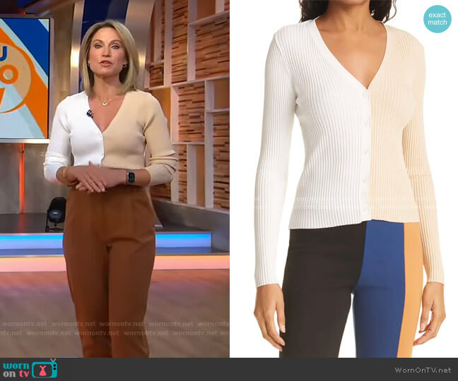Cargo Colorblock Sweater by Staud worn by Amy Robach  on Good Morning America