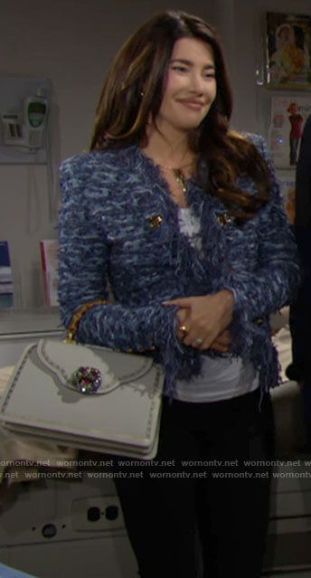 Steffy's blue fringed tweed jacket on The Bold and the Beautiful