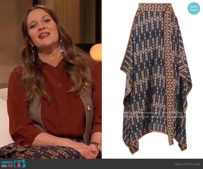 Norah patterned asymmetric wrap skirt by Stella McCartney worn by Drew Barrymore  on The Drew Barrymore Show