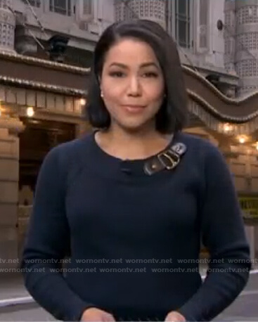 Stephanie's navy buckle sweater on Good Morning America