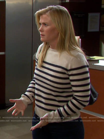 Sami's white striped sweater on Days of our Lives