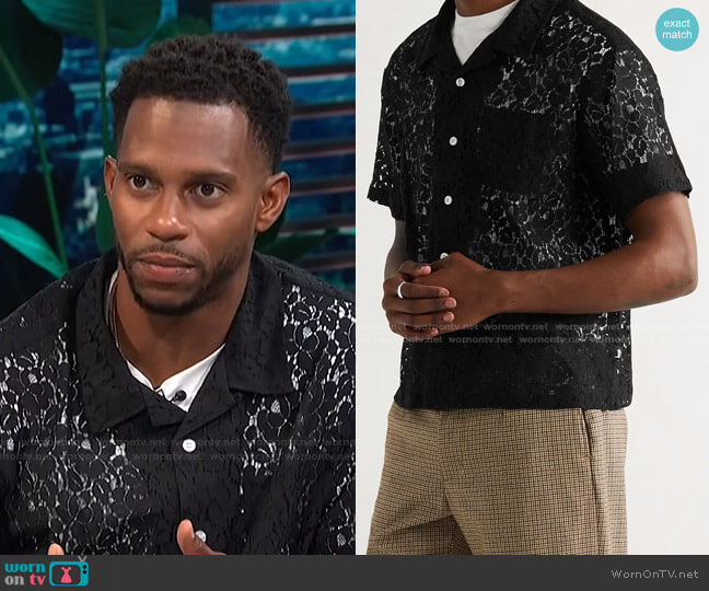 Camp-Collar Cotton-Blend Lace Shirt by Stussy worn by Victor Cruz on E! News Daily Pop