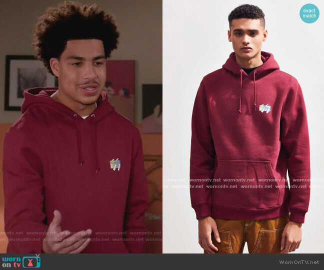 Cube Logo Hoodie by Stussy worn by Andre Johnson Jr (Marcus Scribner) on Blackish